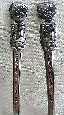 Set of 2 Vintage Silver Plate Dennis The Menace Character Spoons 5 7/8""