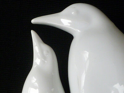 ~ 2 PENGUINS otagiri Japan OMC ~ Sleek Modernist Style ~  White Porcelain Pair