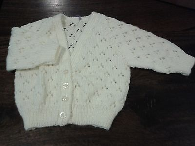 Newborn Babies Ivory Handknitted Lace Cardigan. Size 000.great Gift. Gorgeous.