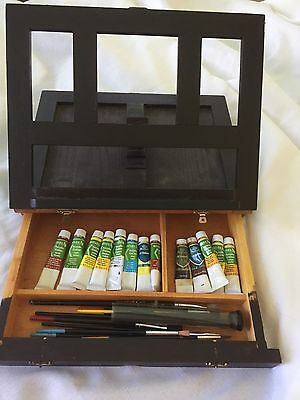 Vintage Artist Case - All In One Easle And Storage With Carry Handle In Timber