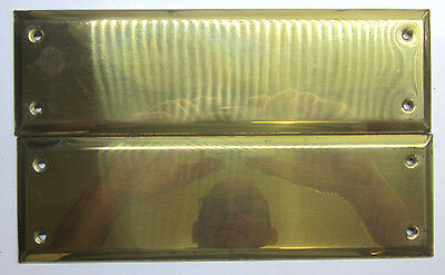 Vintage set 1 pair 2 stamped polished brass door push plates beveled edge 10X3""