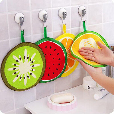Hanging Kitchen Hand Towel Microfiber Towels Fruit Print Cleaning Rag Dish Cloth