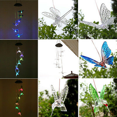 Solar Color Changing LED Butterfly Hummingbird Wind Chimes Light Lamp Yard Decor