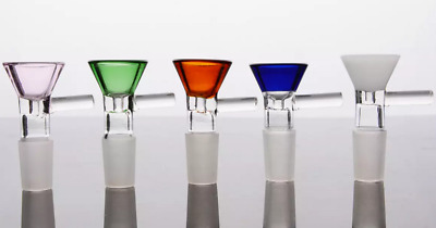 14mm / 18mm Male Color Slide Glass Bowl With Handle - Free Shipping