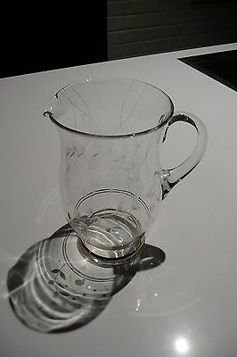 1950's Etched Glass Water Jug
