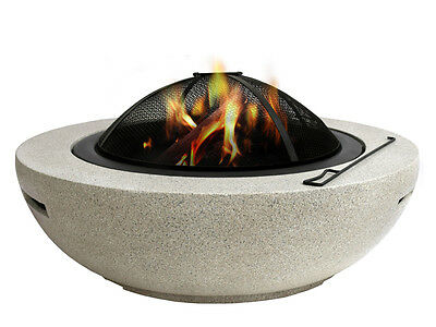 NEW Oval Fire Pit Cement Open Fireplace Heater Bowl with Base Grill Outdoor