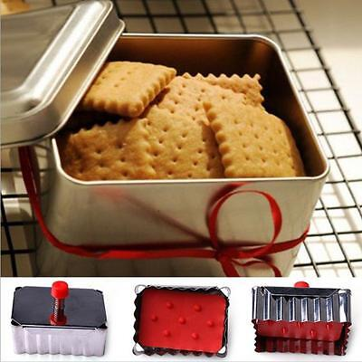 Stainless Steel Plunger Cookie Cutter Pastry Fondant Decorating Square Mold - FI