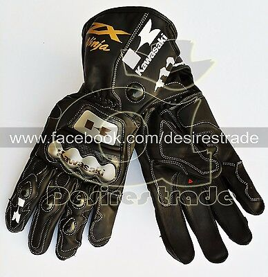 Black Kawasaki Ninja ZXR Motorbike Leather Racing Gloves / Motorcycle Gloves