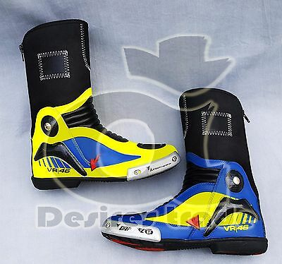Valentino Rossi Pro In Replica D1 Motorbike Leather Racing Boots/ Vr46 Shoes