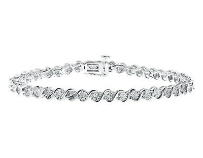 "1/4 Ct Round Natural Diamond 'S' Style Tennis 7"" Bracelet In 925 Sterling Silver"