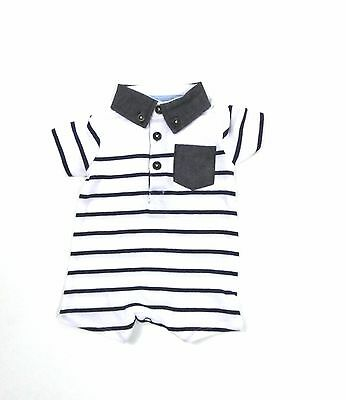 Baby Boys Smart Striped Collared Shirt Nautical Summer Romper Newborn - 18 Month