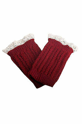 Women's Lace Trim Leg Warmers Short Cuffs Red H8U3