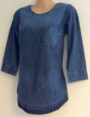 Fat Face Ladies Blue Pocket 3/4 Sleeve Tunic Casual Top New Sizes 6-18