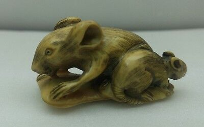 antique japnese hand carved and signed netsuke rats