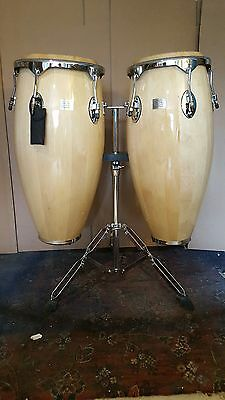 Conga Pair Natural W/ Stand by Performance Percussion (CON GAS)
