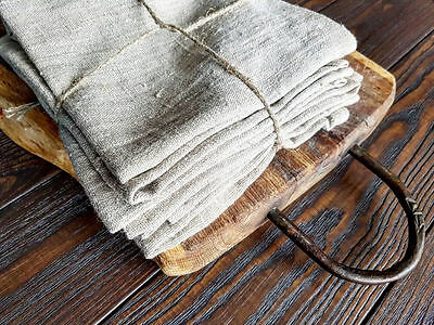 Rustic linen napkin set of 6, natural rough heavy softened gray linen napkins