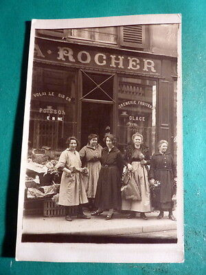 Cpa  Photo Devantures Commerce Magasin Epicerie  A.rocher Carte Animee Ancienne