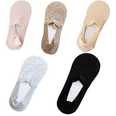 Women Good Invisible Nonslip Loafer Lace Boat Liner Low Cut Cotton Boat Socks