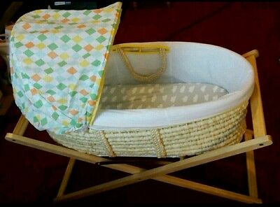 Mothercare Moses basket, stand and fitted sheets - Manchester