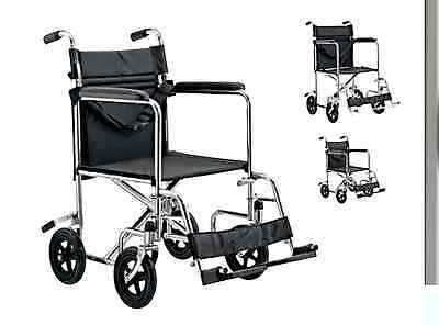 Transport Wheelchair / Transit wheel Chair Silver Folding Backrest BR NEW