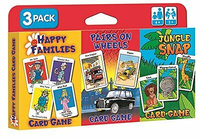 Children's Card Games Jungle Snap, Pairs On Wheels & Happy Families 3 Pack 4+