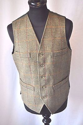 Vintage Bob Parratt green check wool waistcoat size small country classic