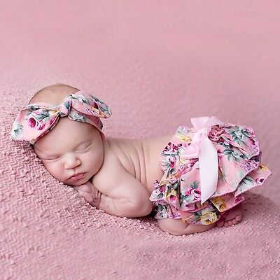Photo Props Floral Bow Baby Bloomer Headband Diaper Nappie Cover Set