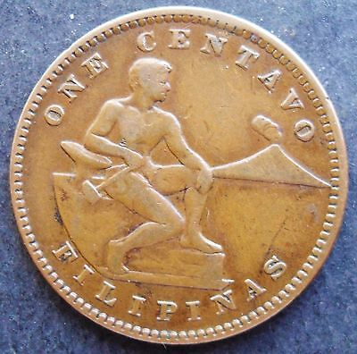 1919 Philippines Centavo, VF - XF ,  nice coin ( 460)