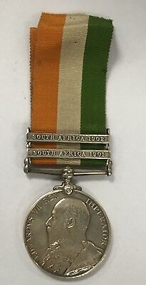 1901 Silver Kings South Africa War Medal PTE Ford Ribbon 2 Clasps