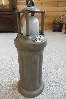 Nife vintage iron or brass miner's lantern, battery lighted, safety, heavy,1900s
