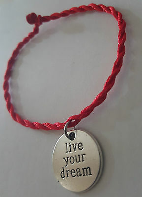 Live Your Dream Silver Medallion Red String Protection Bracelet Red Kabbalah