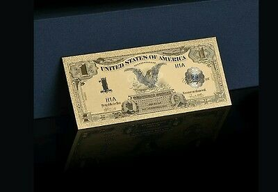 <GOLD>1899 Series$1 SILVER CERTIFICATE Black EAGLE Banknote Rep*W/COA~US SELLER!