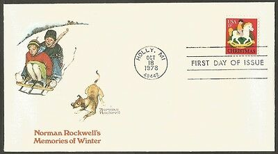 Us Fdc Norman Rockwell 1978 Christmas 15C Fleetwood First Day Of Issue Cover