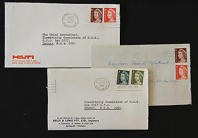 Australia 1968-9 3x different 5c letter rate combinations commercial covers lot