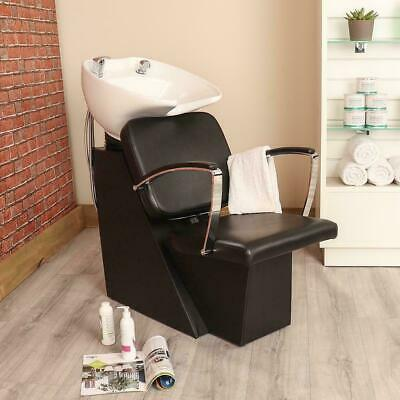 Black Leather Style Hairdresser Barber Wash Unit With Mixer Tap And Shower Head