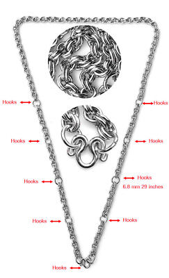 6.8mm 9hook 29 inches Stainless Steel Necklace Solid for thai amulet handmade#21