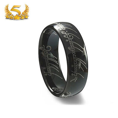 Tungsten Carbide Black Lord of the Rings One Ring 6mm Ring Band Men's Women Gift