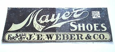 Mayers Shoes Milwaukee JE Weber Antique Advertising Sign Fragile Condition