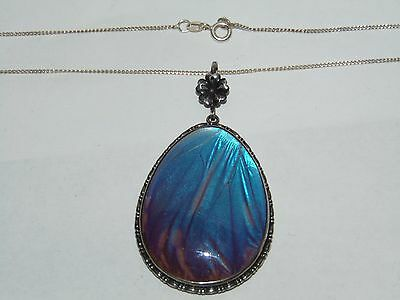 Stylish Large Vintage Art Deco Sterling Silver & Butterfly Wing Pendant Necklace