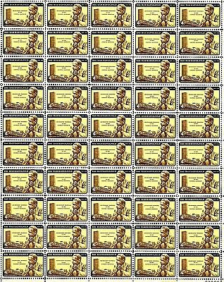 1962 - DAG HAMMARSKJOLD - Vintage Full Mint Sheet of 50 U.S. Postage Stamps