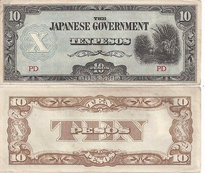 10 peso banknotes issued by the Japanese Government during WWII