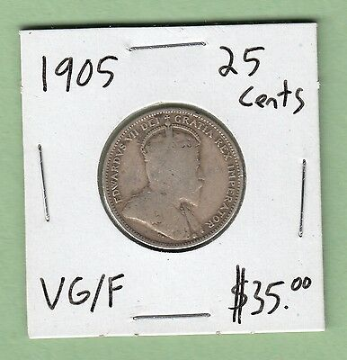 1905 Canadian 25 Cents Silver Coin - VG/ Fine