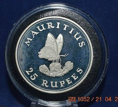 Mauritius 25 Rupees 1975  Proof  KM40A   Butterfly on flower