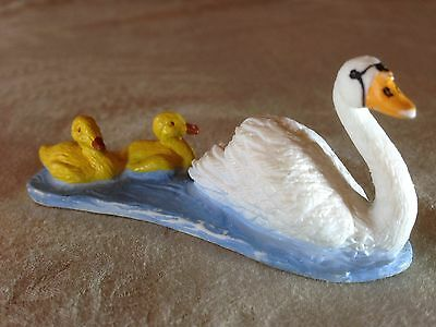 Vintage MOTHER GOOSE with CHICKS Swimming! Bullyland - Handpainted - RARITY!