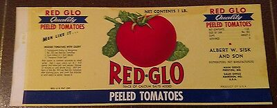 Red-Glo Tomatoes CAN LABEL  Lithograph 1930's Aberdeen, Maryland recipe