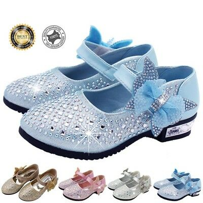 Girls Kids Princess Shoes Glitter Strip Ballet Shoes Small High-Heeled Shoes US
