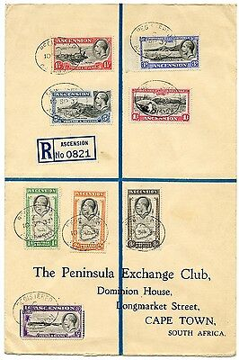 Ascension 1937 registered cover to South Africa with George V set to 1s SG 21-28