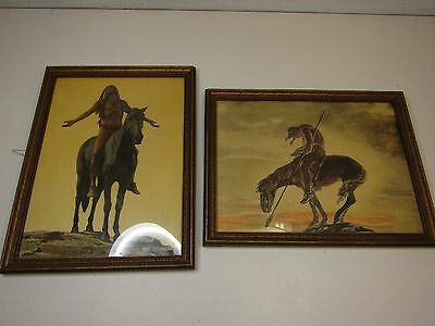 Pair Of Vintage Western Theme Painting Prints By Reinthal & Newman 13 x 10