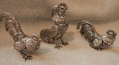 Vintage Small Pewter Metal Work Roosters Cocks Chickens Set of 3