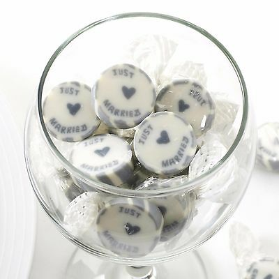 Just Married Wedding Favour Rock Sweets Silver & Cream 215g Peppermint by NEVITI